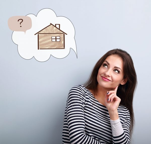 Happy thinking casual woman in looking up on illustration house in bubble cloud above with questions sign. Insurance protection concept, investment to safety money.